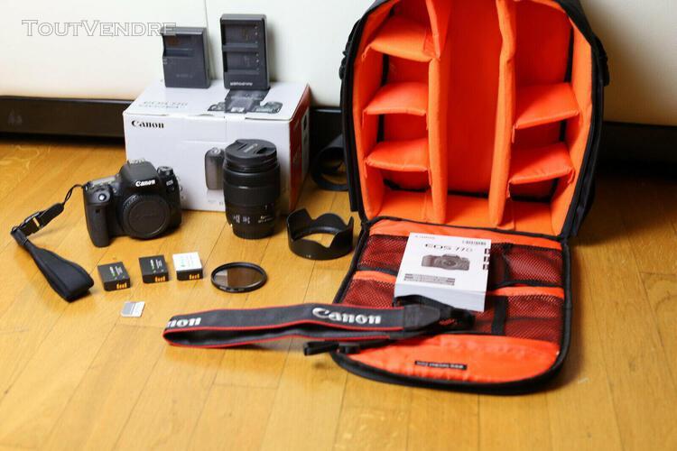 Canon eos 77d - ef-s 18-135mm + 3 batteries + sac à dos +..