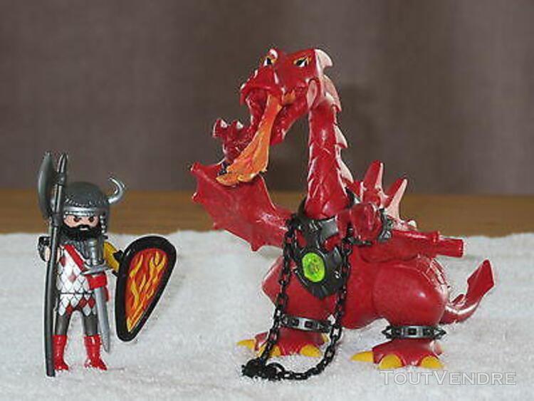 Superbe playmobil - 3327 - chevalier - chevalier/dragon roug