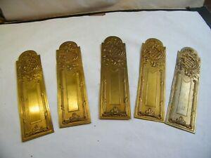 5 plaques propreté bronze doré poignée porte serrure