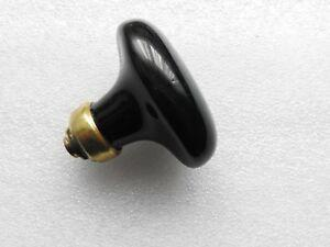 Ancien bouton poignée de porte en porcelaine noire bague en