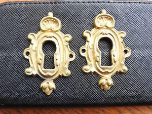 Ancienne paire entree de clé serrure de porte en bronze