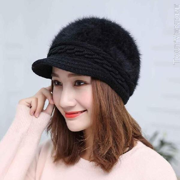 Dames de fourrure de lapin chapeau d'hiver trendy new bonnet