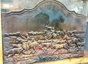 Grande plaque de cheminée décor camargue 19ème haut 71