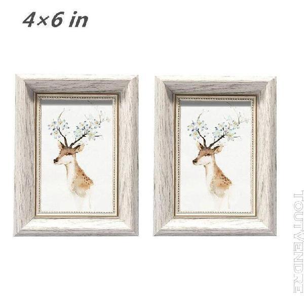 Cadre photo cadre déco mural - lot de 2 - vintage blanc - 4