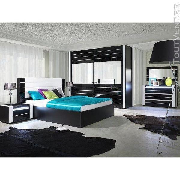 Ensemble design pour chambre à coucher lina noir. lit + 2