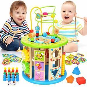 Wlovetravel jouet bois,cube d'activité en bois cube