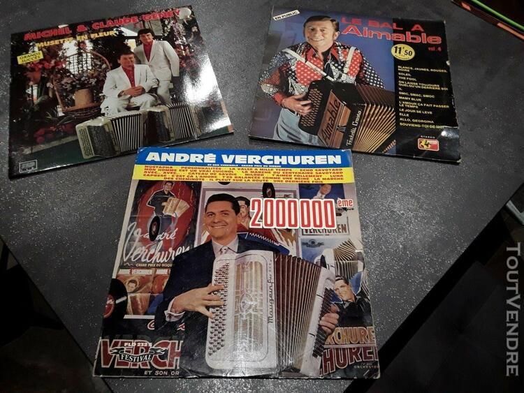 Verchuren, aimable, geney, accordéon, disques vinyles, 3 x