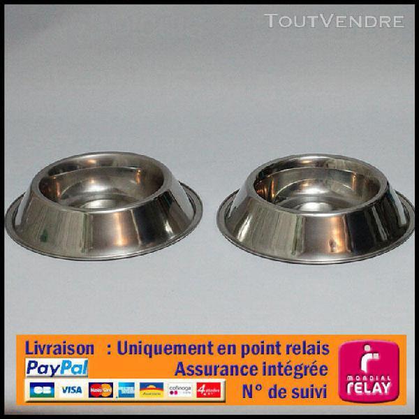 Lot 2 gamelles mangeoire à chien ronde en inox