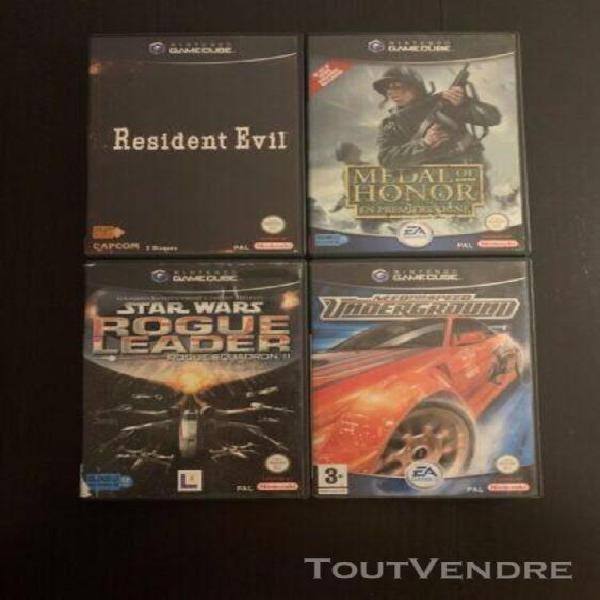 Lot jeux gamecube (résident evil; nfs; moh; star wars rogue