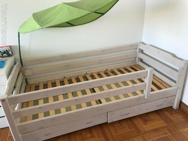 2 lits flexa bois blanchi - 90 x 190 cm avec barrière et