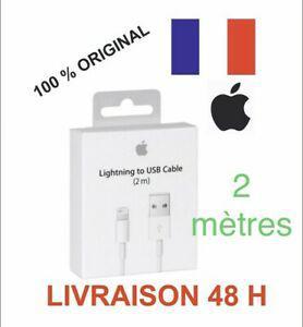 Câble original usb 2m chargeur apple lightning pour iphone