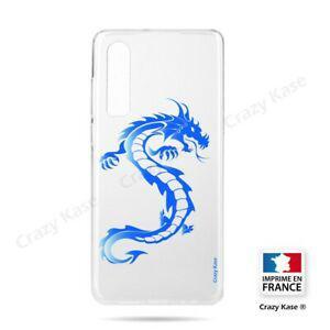 coque compatible huawei p30 souple dragon bleu - crazy kase