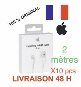 Lot de 10 câble original usb 2m chargeur apple lightning