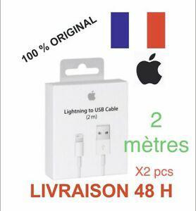 Lot de 2 câble original usb 2m chargeur apple lightning