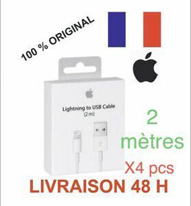 Lot de 4 câble original usb 2m chargeur apple lightning