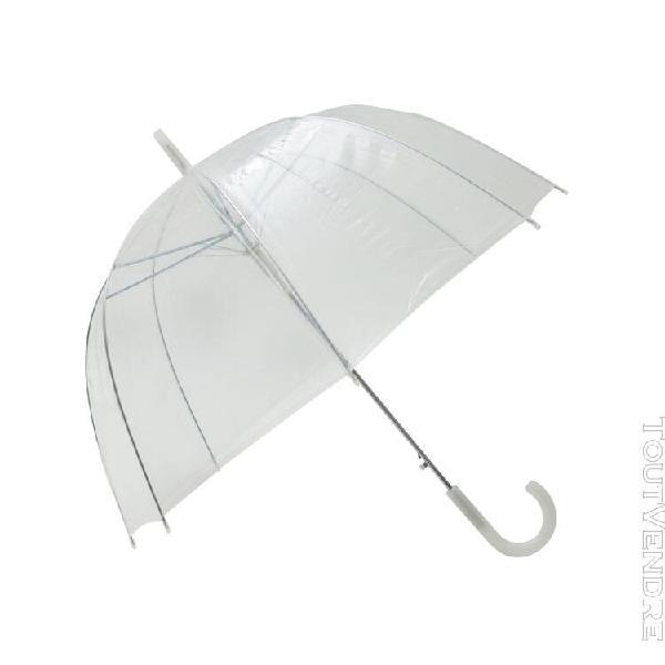 parapluie transparent simple finition blanc - smati