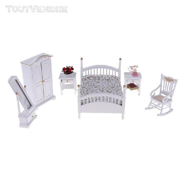 1/12 scale miniature lit armoire table fauteuil miroir fleur