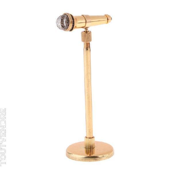 1/12 scale miniature microphone avec support meubles de mais
