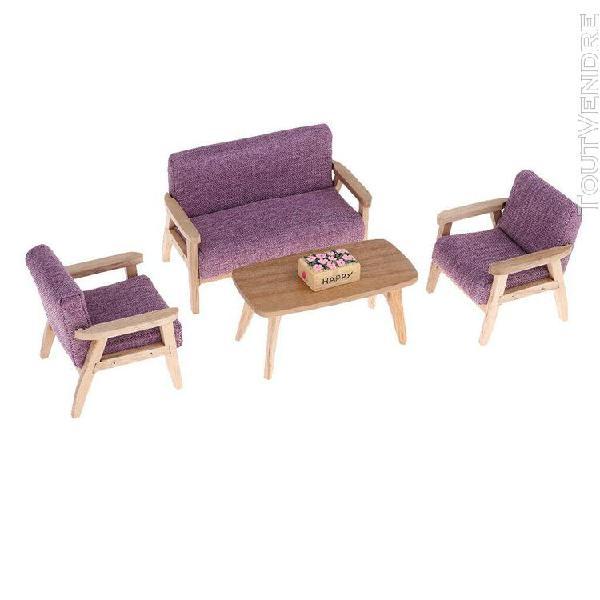 1/12 scale miniature mobilier salon canapé chaise table