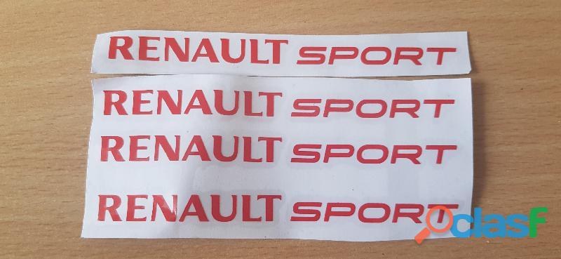 4 autocollants renault sport 12x1 cm couleur rouge tout support