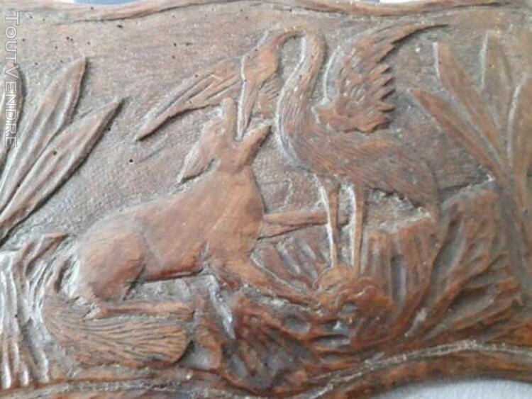 """bas-relief """"le renard et la cigogne """", chêne ancien / old"""