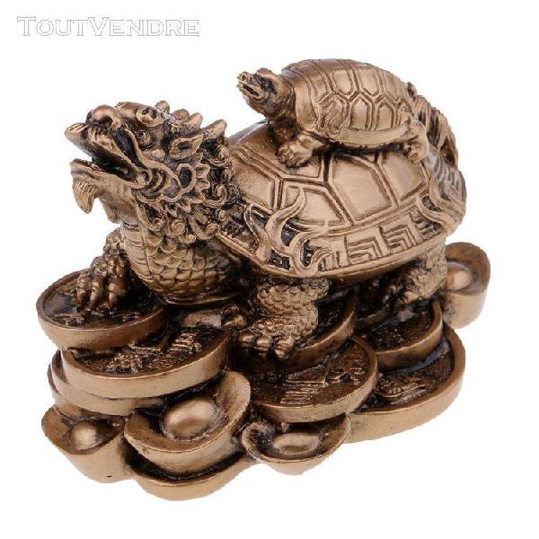 Chinois dragon tortue figurine en résine statue manuelle