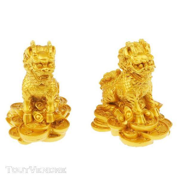 Chinois lion figurine en résine statue décoration