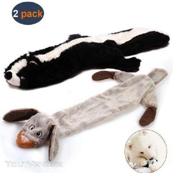 lot de 2 jouets sonores en peluche, pour chiens, jouets plis