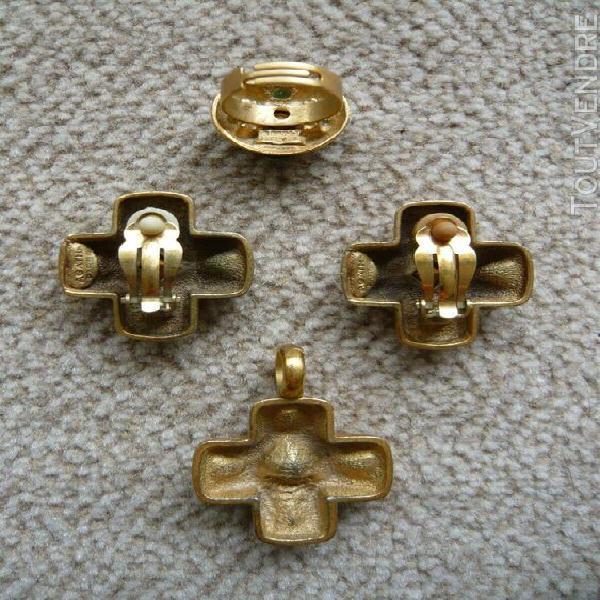 Neuve ! parure dorée -clips pendentif et bague- agatha