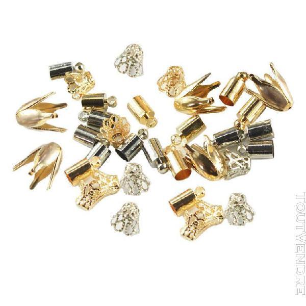 50 pièces multi taille et formes or / argent métal perles