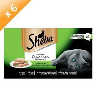 Sheba barquettes en terrine - 4 varietes - pour chat - 4 x