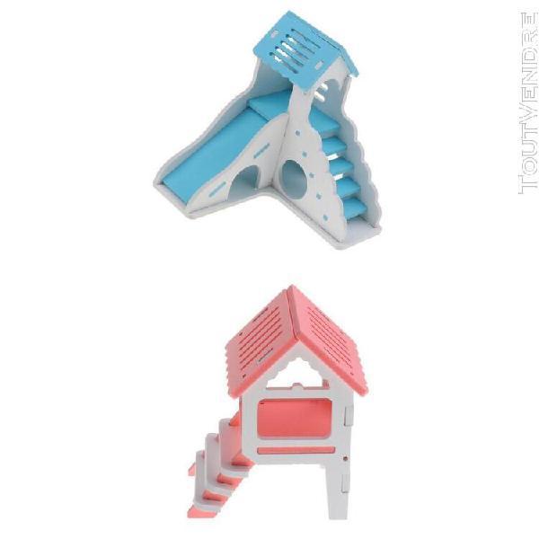 2 pcs maison de petit animal hamster À double etages en