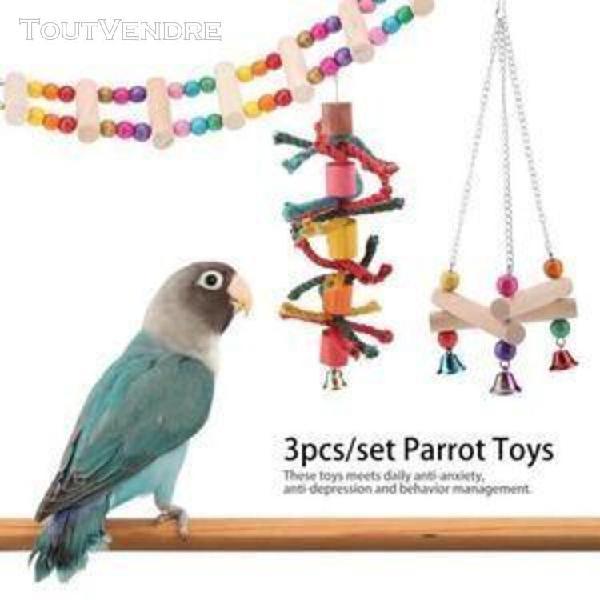 jouets pour perroquet, 3pcs - set bois coloré oiseau jouet