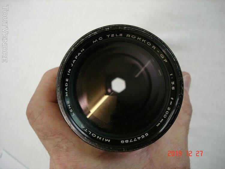 """objectif """"minolta mc tele rokkor-qf"""" 1:3.5 f=200mm"""