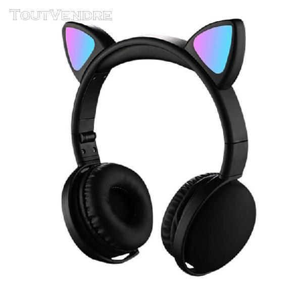 Ear cat casque facturable led écouteurs pliables réglables
