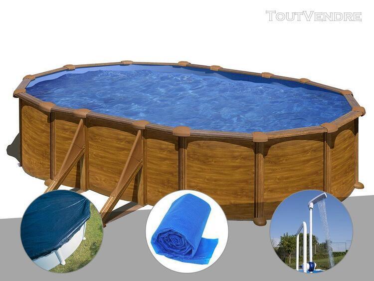 kit piscine acier aspect bois gré mauritius ovale 5,27 x