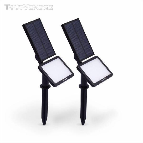 lot de 2 spots 48 led solaires blanc froid 960 lumens, lumin