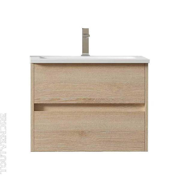 Meuble de salle de bain suspendu lerma 60 cm bois clair