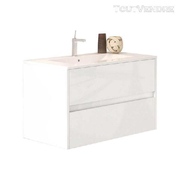 Meuble de salle de bain suspendu lerma 80 cm blanc brillant