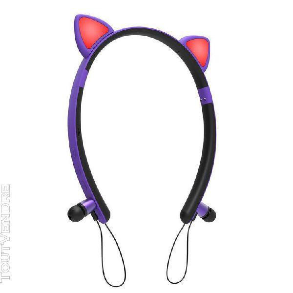 Oreille de chat mignon forme sans fil bluetooth headset roug