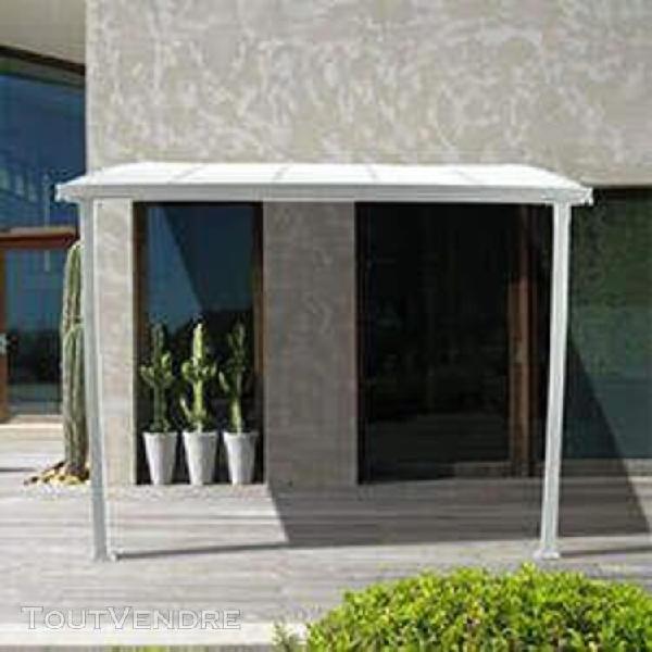 pergola polycarbonate adossée blanc 300 x 300 cm montat -