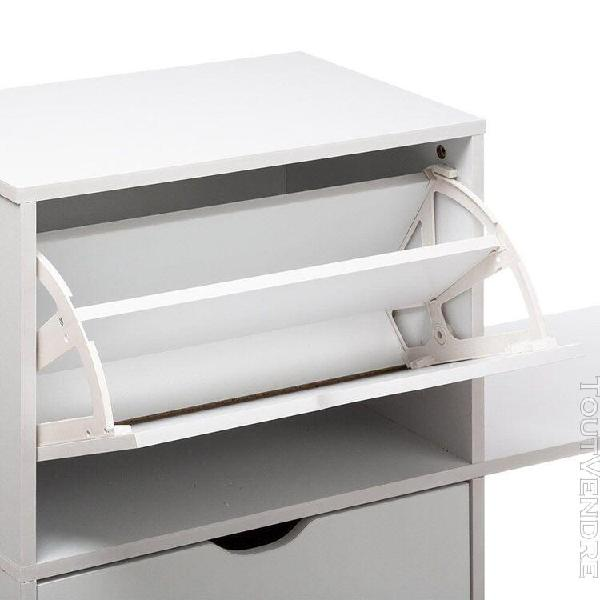 Range chaussures 2 tiroirs avec banc blanc