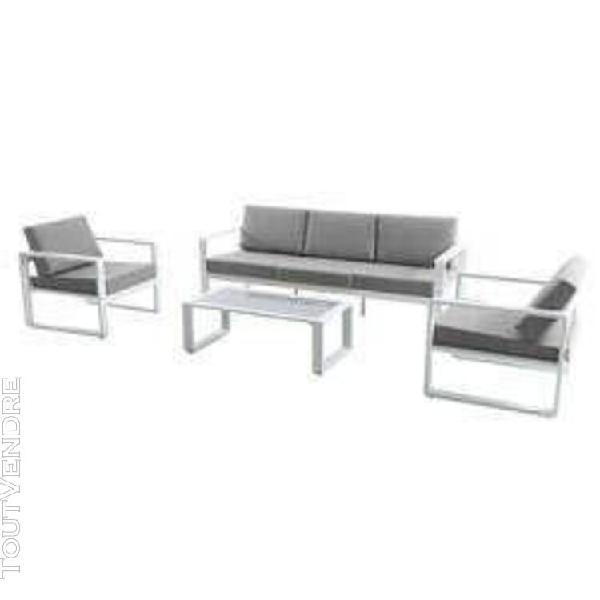 salon bas aluminium blanc et taupe valinco - oogarden