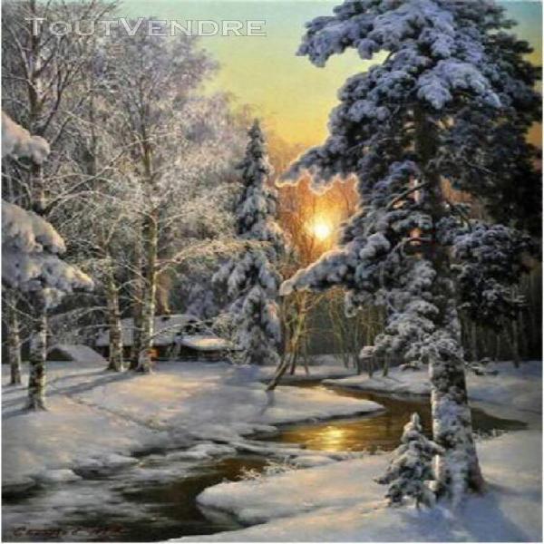 touoilpfull carré diamant peinture neige paysage diamant