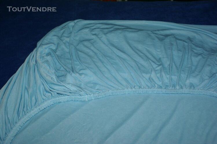 drap housse gersey microfibre - 90x190 - bleu clair