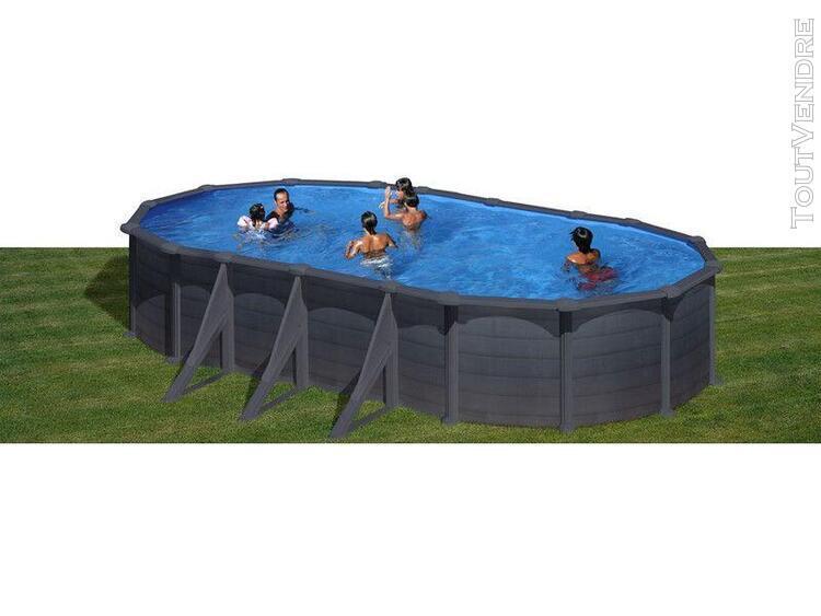 piscine aspect graphite ovale 730 x 375 x 132 cm granada gre