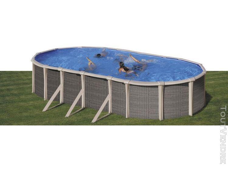 piscine aspect rotin ovale 670 x 370 x 135 cm gre kitprov670