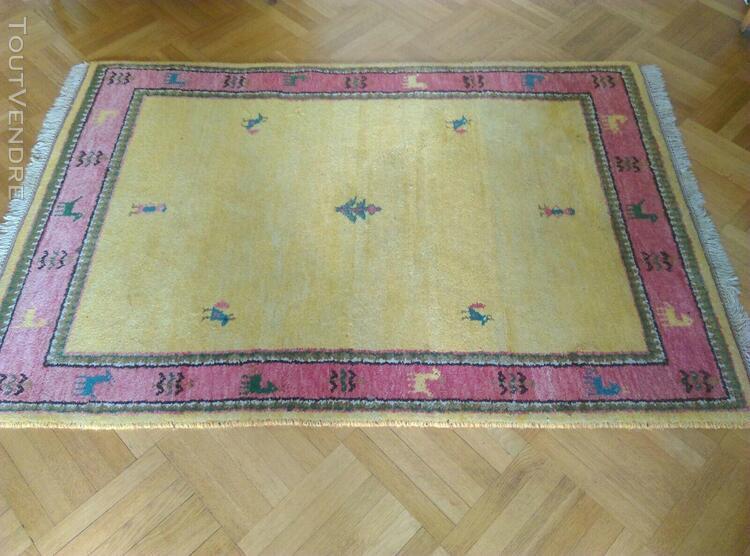 Très beau tapis gabbeh pure laine jaune et rose