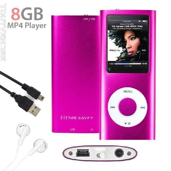 Lecteur mp3 mp4 player 8go (rose) vidéo radio fm musique