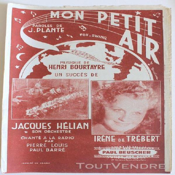 partition ancienne:mon petit air musique: bourtayre.h paro